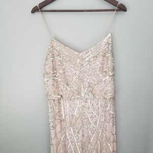 Blush Adrianna Papell Beaded Blouson Gown